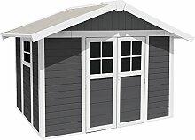 Ondis24 Gartenhaus Deco H 7,5 dunkelgrau weiß