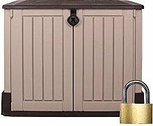 Ondis24 Keter Woodland 30 Mülltonnenbox beige braun Gartenbox Midi Gerätebox abschließbar + Vorhängeschloss