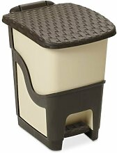 Ondis24 Mülleimer Abfalleimer Treteimer Rattan 18 Liter, beige - braun