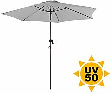 Ondis24 Strandschirm 2,3 Meter Sonnenschutz Sonnenschirm 230 cm rund mit Kurbel, Knick-Gelenk, UV 50, zweifarbig (Grau)