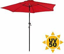 Ondis24 Strandschirm 2,3 Meter Sonnenschutz Sonnenschirm 230 cm rund mit Kurbel, Knick-Gelenk, UV 50, zweifarbig (Rot)