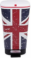 Ondis24 Treteimer Chic M Mülleimer Abfalleimer aus Kunststoff 25 Liter geruchsdicht (UK Flagge)