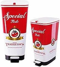 Ondis24 Treteimer Chic Set 25 L + 45 L Tomato Abfalleimer Mülleimer aus Kunststoff geruchsdich