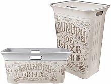 Ondis24 Wäschetruhe Set Wäschekorb Wäschepuff mit Belüftung Moda Deluxe 60 Liter mit Deckel + 45 Liter Wäschesammler mit 4 Griffen