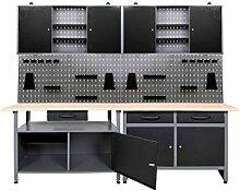 ONDIS24 Werkstatt-Set, 2x Werkbank, 2x Werstattschrank, 2x Lochwand 85 cm