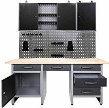 ONDIS24 Werkstatt-Set 5-tlg, Werkbank mit Lochwand inkl Haken, 2x Schränke & LED