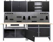 ONDIS24 Werkstatt-Set, 7- tlg, 2x Werkbank, 2x Werkzeugwand, 3x Hängeschrank 85 cm