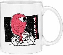 One Eye'd Monster Riding Bike Coffee Mug Cup