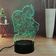 One Piece Luffy 3D Anime Night Lamp, USB Touch &