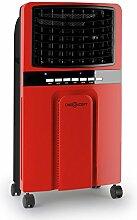 oneConcept • Baltic Red • Luftkühler mit Wasserkühlung • Ventilator • Lufterfrischer • Luftbefeuchter • 3 Leistungsstufen • Fernbedienung • energiesparend • 65 Watt • 6 Liter Wassertank • inkl. Eispacks • Wasserstandsanzeige • Bodenrollen • ro
