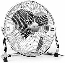 """oneConcept • Metal Blizzard XL • Ventilator • Bodenventilator • Standventilator • leise • Chrom • 41 cm (16"""""""") Rotorblätter • Metallkorb • 100 Watt • neigbar • 3 Geschwindigkeiten • Tragegriff • Kabelaufwicklung • rutschfest • sicherer Stand • silber"""