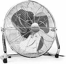 """oneConcept • Metal Blizzard XXL • Ventilator • Bodenventilator • Standventilator • leise • Chrom • 46 cm (18"""""""") Rotorblätter • Metallkorb • 120 Watt • neigbar • 3 Geschwindigkeiten • Tragegriff • Kabelaufwicklung • rutschfest • sicherer Stand • silber"""