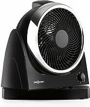 oneConcept • Windmaker • Tischventilator • Ventilator • Schwenkfunktion • Drehregler • 3 Geschwindigkeitsstufen • 6-stufig einstellbarer Neigungswinkel • sparsam im Verbrauch • 30 Watt Leistungsaufnahme • kompakt • Tragemulde • schwarz-silber