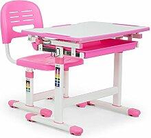 oneConcept Annika • Kinderschreibtisch • Schreibtisch • ergonomischer Tisch und Stuhl • höhenverstellbar • neigbare Tischplatte von 0 bis 40° • Aufbewahrungsschublade • seitlicher Taschenhaken • pink