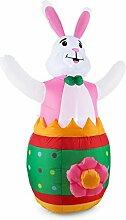oneConcept Funny Bunny selbstaufblasender Osterhase Ostern XXL Osterdeko Garten-Deko (180 cm, inkl. Gebläse, Outdoor LED-Beleuchtung)