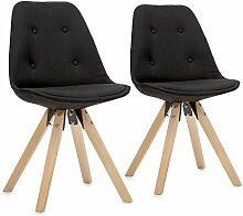 oneConcept Iseo • Schalenstuhl • Retrostuhl • Esszimmerstuhl • 70er-Jahre-Look • Retro-Design • 2-er Stuhl-Set • breite, leicht gebogene Sitzfläche • gepolsterte PP-Schale • Kombination aus Holz, Metall und Kunststoff • Sitzhöhe von 47 cm • schwarz