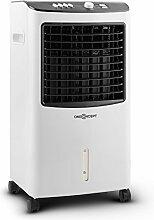 oneConcept MCH-2 V2 • Luftkühler mit Wasserkühlung • Ventilator • Luftbefeuchter • Luftreiniger • 3 Leistungsstufen • 400 m³/h Luftdurchsatz • Timer • energiesparend • 65 Watt • weiß-schwarz