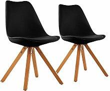 oneConcept Onassis • Schalenstuhl • Designstuhl • Retro-Stuhl • 2er-Set • 70er Jahre Retro Look • Maße ca. 48 x 83,5 x 53 cm (BxHxT) pro Stuhl • breite Sitzfläche • hochwertige Hartplastik-Schale • Birkenholz-Beine • zeitlos • komfortabel • schwarz