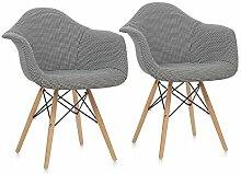 oneConcept Visconti • Schalenstuhl • Retrostuhl • Esszimmerstuhl • 70er-Jahre-Look • Retro-Design • 2er Stuhl-Set • breite, bequeme Sitzfläche • gepolsterte PP-Schale • Sitzhöhe von 43 cm • schwarz