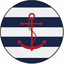 OneHoney Runder Teppich, nautischer roter Anker,