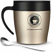 ONEISALL Kaffeebecher, 313 ml, Edelstahl,