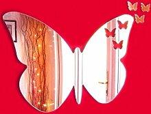 OneMtoss Spiegel deko Wandspiegel grosser Schmetterling mit kleine Schmetterlinge Spiegel 35cm x 30cm, 3mm Acryl Spiegel dekoration wohnung Wandaufkleber