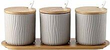 OnePine 3er Set Grau Keramik Gewürzdosen