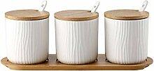 OnePine 3er Set Weiß Keramik Gewürzdosen