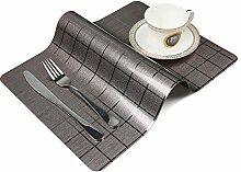 OneSky-UK Tisch-Tischsets (4-Pack), rutschfest, wasserdicht, abwischen sauber, Wärmedämmung Dinner Sets (Dunkelbraun)