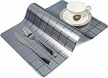OneSky-UK Tisch-Tischsets (4-Pack), rutschfest, wasserdicht, abwischen sauber, Wärmedämmung Dinner Sets (Licht Silber)