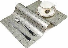 OneSky-UK Tisch-Tischsets (4-Pack), rutschfest, wasserdicht, abwischen sauber, Wärmedämmung Dinner Sets (Hell Gold)
