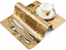 OneSky-UK Tisch-Tischsets (4er Set), Anti-Rutsch, Wasserdicht, Wischen Sauber, Wärmedämmung, Plastik Tischset Dinner Sets (Gold)