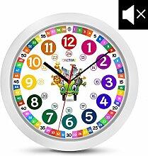 ONETIME Kinderwanduhr (Ø) 30,5 cm Kinder Wanduhr mit lautlosem Uhrenwerk und farbenfrohem Design mit Tieren - Ablesen der Uhrzeit lernen