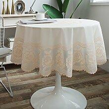 ONETWO Europa verschleißfesten Runden tischdecke,Wasserdichte pflanze blüht Baumwoll-leinen tischdecke Anti-heiß Anti-slip tischtuch -B Durchmesser137cm(54inch)