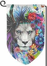 ONGH Lion Art 12,5 x 18 Zoll Garten Flagge