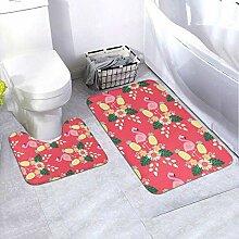 Onled Badezimmerteppich-Set, mit Flamingos Ananas,