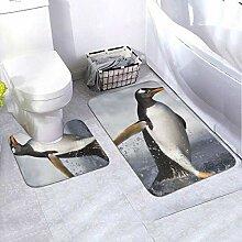 Onled Badezimmerteppich-Set mit Pinguin-Motiv,