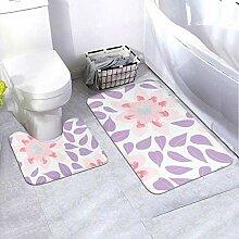 Onled Badezimmerteppich-Set mit schönen Blumen,