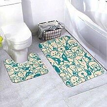 Onled Badezimmerteppich-Set, Verschiedene Hunde,