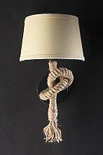 Onli-Lume Wandleuchte Seil mit Lampenschirm beige und Gestell schwarz. Vintage industrielle. Typ-Fassung E27. Abmessungen: 25x 45cm. Beleuchtung von Design für Innen, Licht Beleuchtung Wand