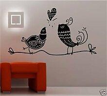 Online Design 2 x Liebe Vögel Vinyl Wandkunst Aufkleber mit Spruch Schlafzimmer - grau
