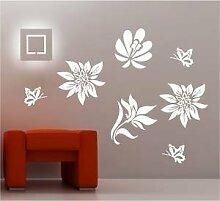 Online Design 4 X Blumen Schmetterlinge Wanddekor Aufkleber Vinyl Lounge - Viole