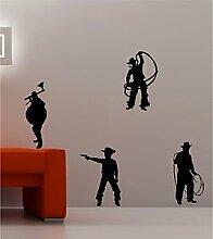Online Design 4X Cowboys und Indianer Wildwest Art Wand Zitat Aufkleber Vinyl Kinder Schlafzimmer grün