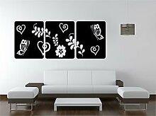 Online Design Blumenmuster Quadrate Vinyl Kunst Aufkleber Schlafzimmer Lounge Schmetterlinge Hearts - Forest grün