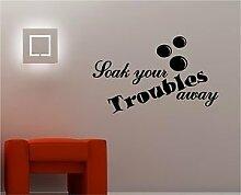 Online Design Einweichen Ihrer Troubles Weg Wanddekor Aufkleber Vinyl Spruch Badezimmer - Viole