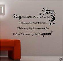 Online Design Hey Diddle Diddle Katze Vinyl Wandkunst Aufkleber Mit Spruch Kinder - Viole
