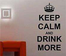 Online Design Keep Calm & Getränk Mehr Wanddekor Aufkleber Vinyl Küche - Orange