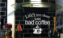 Online Design Life 's Too Short Kaffee Art Wand Aufkleber Aufkleber Küche Cafe grau