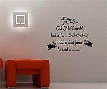 Online Design Old MacDonald Kinder Art Wand Aufkleber Vinyl Schlafzimmer silber