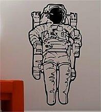Online Design Riesig Raumfahrer Wandkunst Aufkleber Kinder Schlafzimmer Kinder - Schwarz